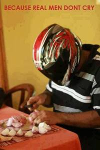 onion peeling with helmet - real man dont cry