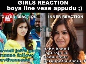 Girls reaction boys line vese appudu
