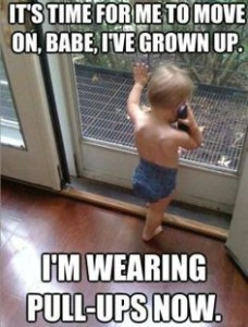 I'm Wearing Pull-Ups Now Funny Kid Pic