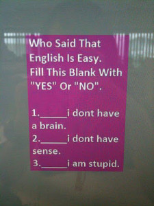 English Is Not Easy Comment Pic