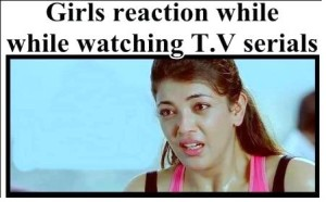 Girls Reaction While Watching TV Serials