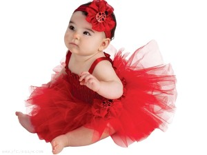 Cute Baby In Red Frock