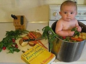 Funny Kids Picture In The Vegetable Bucket