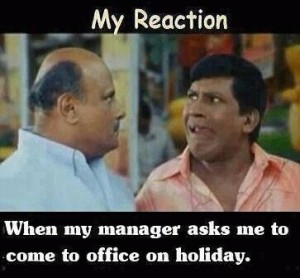 Vadivelu Reaction-When Manager Asks To Come Office On Holiday