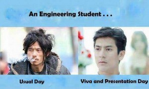 An Engineering Student For Usual Day vs Viva Day