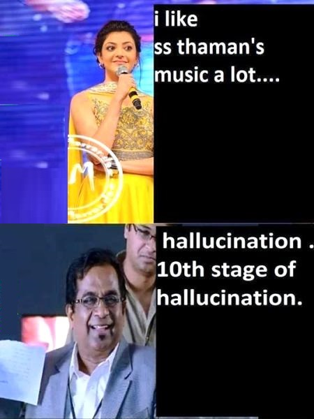 Kajal and Brahmanandham Funny Comment
