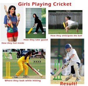 Girls Playing Cricket
