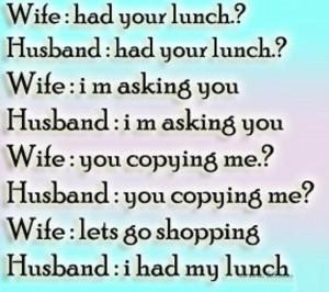 Husband Wife Joke Of Lunch and Shopping
