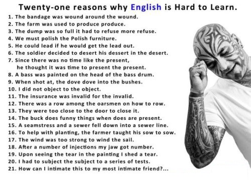 Reasons Why English Is Hard To Learn